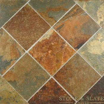 Peacock slate floor tiles
