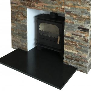 Natural riven Slate Hearth installed by Heatmark